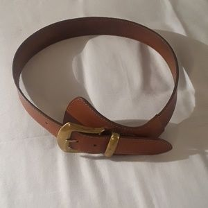 CIRCA Women Leather Belt Tan With Brass Buckle